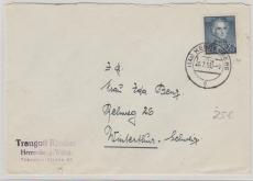 Nr.: 166 als EF auf Auslandsbrief von Herrenberg nach Winterthur (CH)