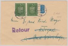 Nr.: 163 als EF auf Fernbrief von Augsburg nach Bad Wörishofen und zurück