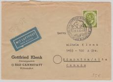 Nr.: 138 als EF auf Lupo- Auslandsbrief von Bad Cannstatt nach Edmonton / Canada