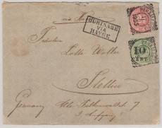 Suriname, 1905, nette MiF auf Brief, via Le Havre nach Stettin