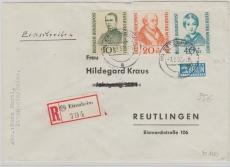 Nr.: 223- 5 als MiF auf Einschreiben- Fernbrief von Ettenheim nach Reutlingen