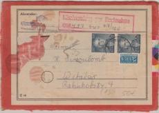 Nr.: 166 (2x) als MeF auf Mischsendungs- NN- Päckchen- Aufkleber von Wiesbaden nach Wetzlar
