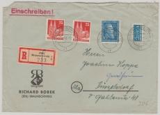 Nr.: 147 in Mif mit Bizone / Bauten! Als MiF auf Einschreiben- Fernbrief von Braunschweig nach Düsseldorf