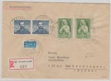 Nr.: 150 + 151 (je 2x) als MiF auf Einschreiben- Fernbrief von Freudenstadt nach Bad Krozingen