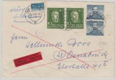 Nr.: 149 + 150 (je 2x) als MiF auf Einschreiben- Fernbrief von Kiel nach Osnabrück