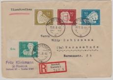 Nrn.: 256- 59, kpl. Satz auf Einschreiben- Fernbrief von Rostock nach Warnemünde