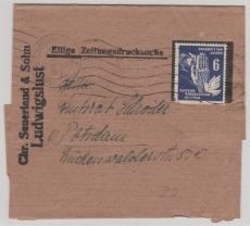 Nr.: 276 als EF auf Zeitungs- Streifband Ludwigslust nach Potsdam