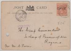 Ceylon, 1891, 2 Cents mit CAVE Überdruck, als EF auf zensierter Drucksachen PK, von Colombo nach Ragama