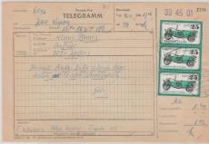 Nrn.: 2257 (7x) + 20 Pfg. Kl. / Gr. BW, als MiF auf Telegramm von Leipzig nach Weßnig