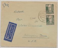 SBZ 225 (2x), MeF verwendet 1951, auf Lupo- Auslandsbrief, von Werdau nach Arlington (USA)