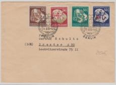 Nrn.: 289- 92, kpl. Satz auf Fernbrief von Berlin nach Dresden, mit Weltjugendfestspiele- Stempel, 1951