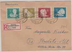 Nrn.: 256- 59, Satzfrankatur als MiF auf Einschreiben- Fernbrief von Kühlungsborn nach Strelitz