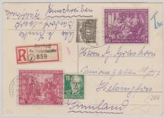 Nrn.: 248 / 49, SBZ 215, + West- Berliner Marke als MiF auf eingeschriebene Auslandspostkarte von Basdorf nach Helsingf.