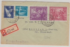 246- 49, 2 kpl. Sätze als MiF auf Einschreiben- Fernbrief von Grottendorf nach Willich