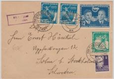 Nrn.: 296 u.a. auf Lupo- Auslandsbrief von Dresden nach Solma (Schweden), 3 - Ausgaben Mischfrankatur!