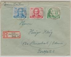 Nrn.: 61- 63, zusammen als Satz- MiF auf Einschreiben von Berlin nach Amorbach