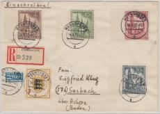 Nrn.: 106- 109 (je vom SR) u.a., auf Einschreiben- Fernbrief von Hochspeyer nach Sasbach