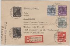 Nrn.: 1 + Bizone + SBZ Ausgaben in MiF auf Lupo- Einschreiben- Auslandsbrief von Berlin nach Schaffhausen
