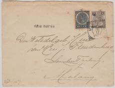 Niederländisch Indien,1905, nette MiF nach Malang auf GS- Umschlag