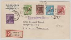 Nrn.: 2, 24, 25, 27, 31 als MiF, auf Auslandseinschreiben von Berlin nach Graz (A)