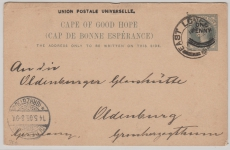 Kap der Guten Hoffnung, 1905, Überdruck GS nach Oldenburg