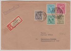 VL., AM- Post 3, 16, 20 + 40 Pfg. + SBZ Nr.: 7 , in MiF, auf Einschreiben- Fernbrief, von Berlin nach Hannover