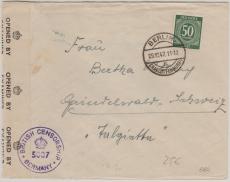 VL., Kontrollrat Nr.: 932 als EF Auslandsbrief von Berlin nach Grindelwald (CH), Zensur