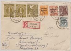 VL., Kontrollrat Nr.: 937 (2x),959 + SBZ + Bizone, in MiF (19.7.), auf Einschreiben- Fernbrief, von Berlin nach Lebenstedt