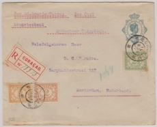 Curacao, 1920, nette MiF auf E. - GS Umschlag via Seepost nach Amsterdam