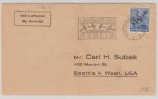 Nr. 13 als EF auf Auslandsbrief von Berlin, nach Seattle (USA), mit Luftbrückenstempel