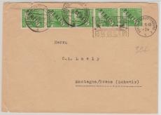 Nr. 4 (5x) als EF auf Auslandsbrief von Berlin, nach Montagna (CH), mit Luftbrückenstempel
