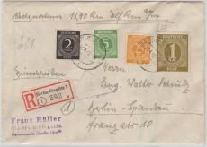 VL., Kontrollrat Nr.: 937 u.a., in MiF auf NN- Einschreiben- Ortsbrief, innerhalb Berlin´s