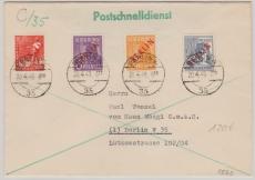 Nrn.: 22, 23, 27 + 32 als MiF auf Postschnelldienstbrief innerhalb Berlin´s