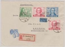 Nrn.: 61, 62 (2x) + 63, als Satz- MiF auf Einschreiben- Fernbrief von Hamburg nach Aachen