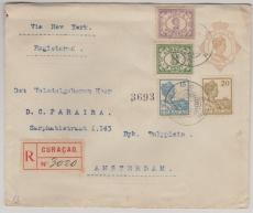 Curacao, 1926, nette MiF auf E. - GS Umschlag via New York nach Amsterdam