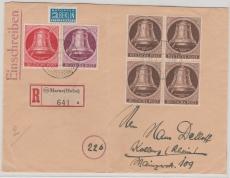 Nrn.: 75 (4x), 78 + 79 als MiF auf Einschreiben- Fernbrief von Marne nach Koblenz