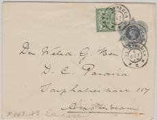 Niederländisch Indien, 1908,  nette MF auf GS- Umschlag, nach Amsterdam