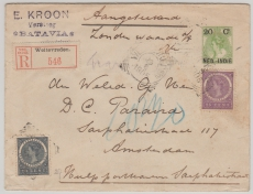 Niederländisch Indien, 1905,  20 Cent Überdruck- GS- Umschlag mit ZF als E.- Brief nach Amsterdam
