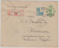 Niederländisch Indien, 1930,  12,5 Cent Überdruck- GS- Umschlag mit ZF als E.- Brief nach Amsterdam