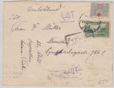 Türkei, Ottoman + Überdruck- Ausgabe in MiF, mit 2 Zensurstempeln auf Brief nach Wien