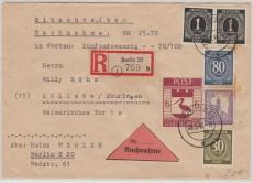 Storkow Nr. 14 A, in MiF mit anderen Werten, auf E.- Nachnamebrief von Berlin nach Kölleda