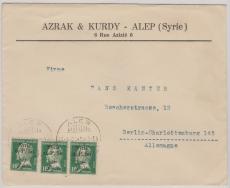 Syrien, 1925, MeF mit 3x Überdruckwert auf Frz. Briefmarken, nach Berlin
