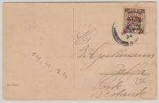 Palestina, 1924, Überdruck- EF auf Postkarte nach Jaffa