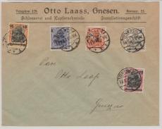 Polen, 1919, Gnesen, Überdruckausgabe auf Germania, mit Gnesener Überdruck in MiF, als Ortsbrief (?)