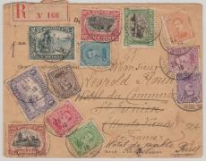 Belgien, 1916, E.- Satzbrief (1 Cent - 2 Fr.) auf Nachsendebrief Nach Paris