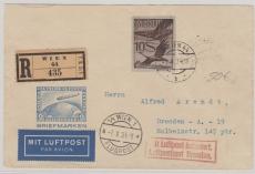Österreich, 1934, Lupo- E.- Brief von Wien nach Dresden, mit 10 Sh. Lupo EF (!!!)