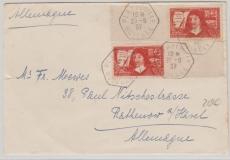 Frankreich, 1937, 90 Cent MeF (je mit Leerfeld r. / links) auf Brief von Plappeville nach Rathenow