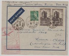 Frankreich, 1939, MiF auf Lupo- Brief mit ersten Postflug von Frankreich nach USA, nach Lima / Peru