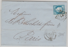Frankreich, ca. 1955, Brief mit 25 Cent EF nach Paris, mit interessanter Abstempelung!