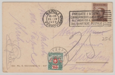 Italien, 1922, nette MiF mit Schweizer Nachportomarke von Napoli nach Bützberg (CH)
